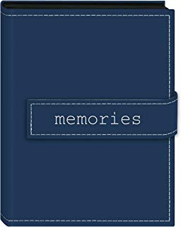 """Pioneer Photo Albums 36-Pocket 4 by 6-Inch Embroidered """"Memories"""" Strap Sewn Leatherette Cover Photo Album, Mini, Blue"""