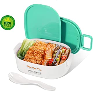 Mr.Dakai Bento Box for Kids - Adults Leakproof Lunch Box with Removable Stainless Steel Container and Spoon - Meal Fruit Sandwich Snack Packing for Picnic Outdoors, Microwave Safe - Blue