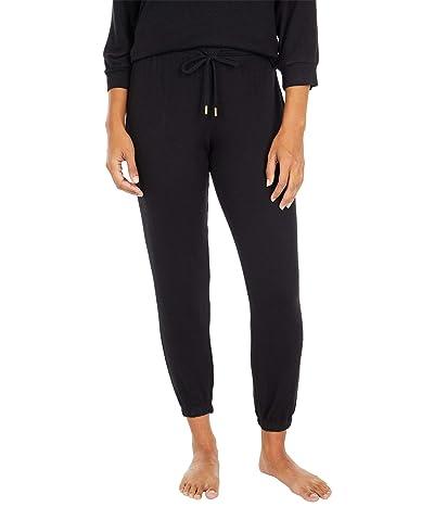 Donna Karan Brushed Sweater Sleepwear Jersey Joggers (Black) Women