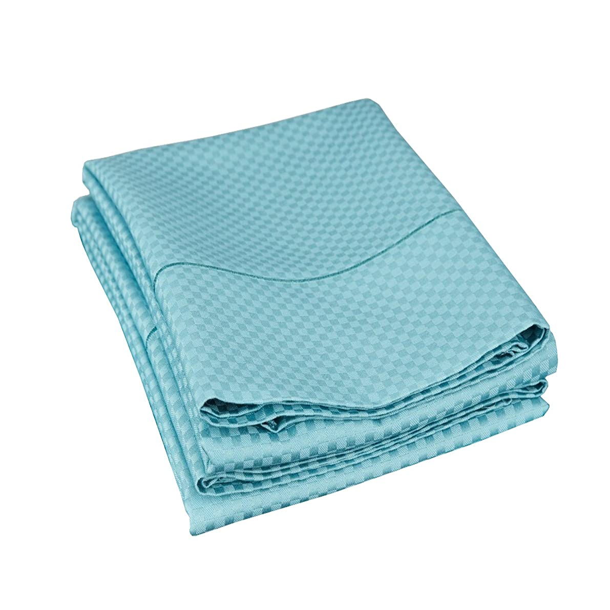 Cotton Blend 800 Thread Count Jacquard Weave Micro-checkers Wrinkle Resistant King Pillowcase Pair, Teal