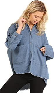 Women's Denim Chic Distressed Woven Long Sleeves Top Blouse Shirt