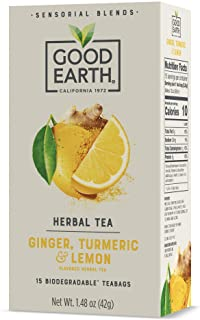 Sponsored Ad - Good Earth Sensorial Ginger, Turmeric & Lemon Herbal Tea, 15 Count (Pack of 5)