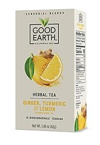Good Earth Sensorial Blend All Natural Ginger, Turmeric and Lemon Herbal Tea, 15 Count, Pack of 5