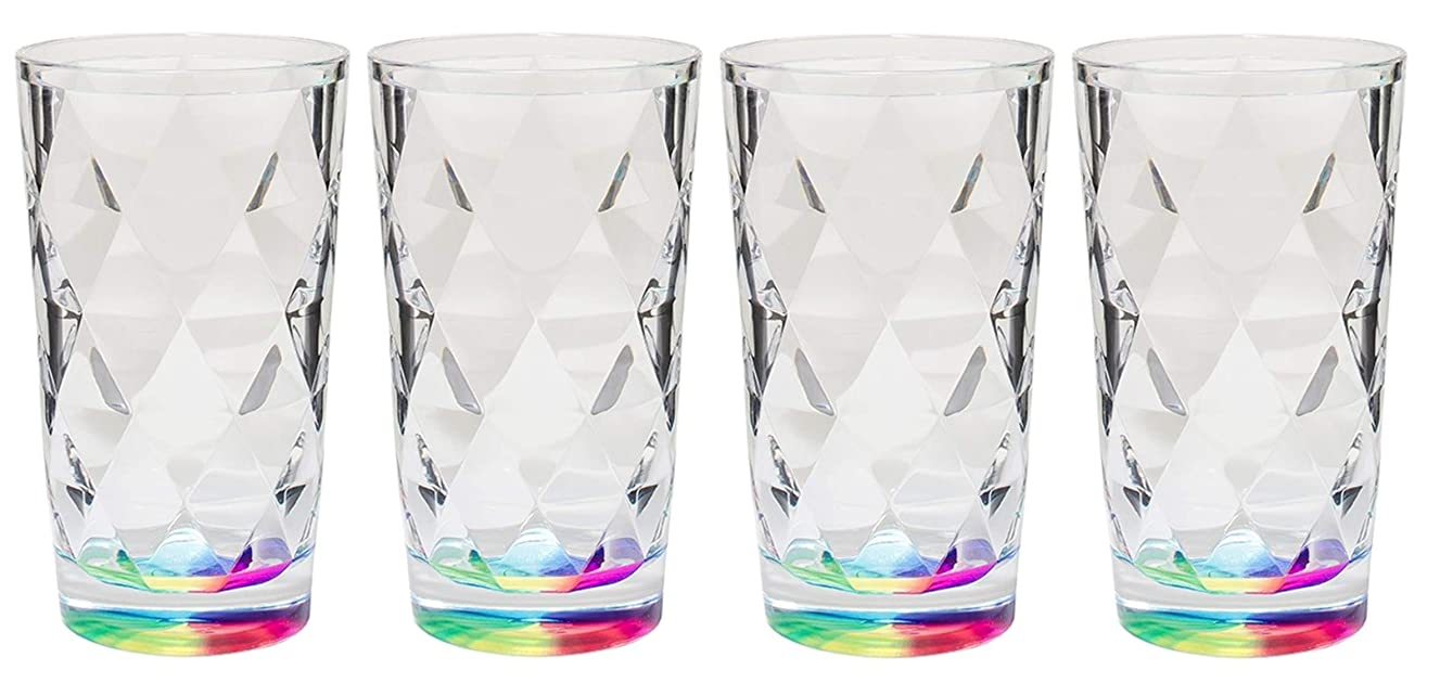 Merritt Radiance Rainbow Reflections Acrylic Tumblers, 10oz, Set of 4, Clear