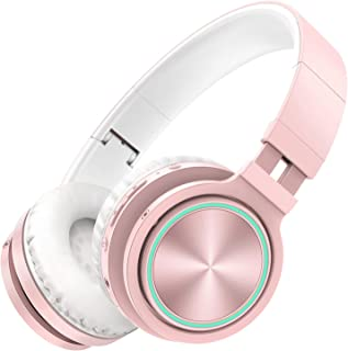 Picun Wireless Headphones 25 Hours Playtime Romantic LED Bluetooth Headphones, HiFi Stereo Headphones with HD Mic, Foldable, Soft Snug Protein Earpads, TF/Wired Mode for Women Girls Kids (Rose Gold)