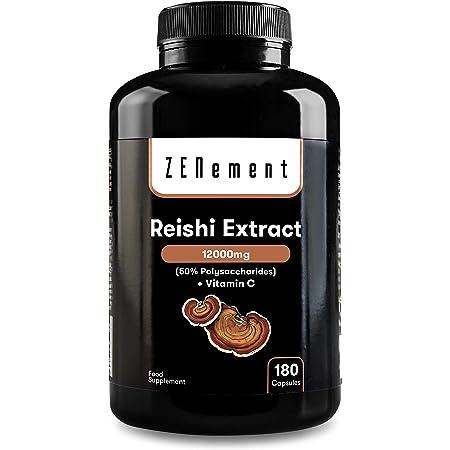 Reishi Extract 12000 mg, con Vitamina C, 180 Cápsulas   50% polisacáridos   Energizante y antioxidante   Vegano, Sin Aditivos, Sin ingredientes OGM   de Zenement