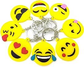 Emoji Keychains, OHill 40 Pack Top 8 Popular Emoji Emoticons Emoji Keyrings Emoji Party Favor Supplies Summer Camp Prizes Carnivals Classroom Rewards Party Favor Bags