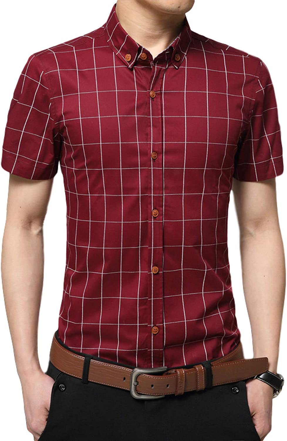 Mens Plaid Printed with Seasonal Wrap Introduction Long Casua Shirt New popularity Summer Sleeve Business