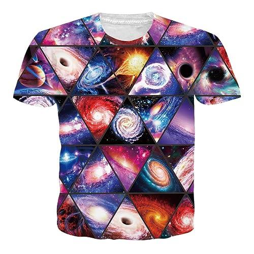 5179eb81a42 RAISEVERN Unisex 3D Creative Galaxy Printed Short Sleeve T-Shirts Tees