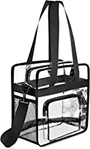 Gonex Clear Tote Bag, NFL Stadium Approved Transparent PVC Crossbody Shoulder Bag with Pockets, See Through Bag for Women Girls for School Work Travel Black