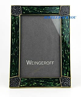 WEINGEROFF Green Peacock Enamel Frame 4x6 Swarovski New $950 Hand Made in USA