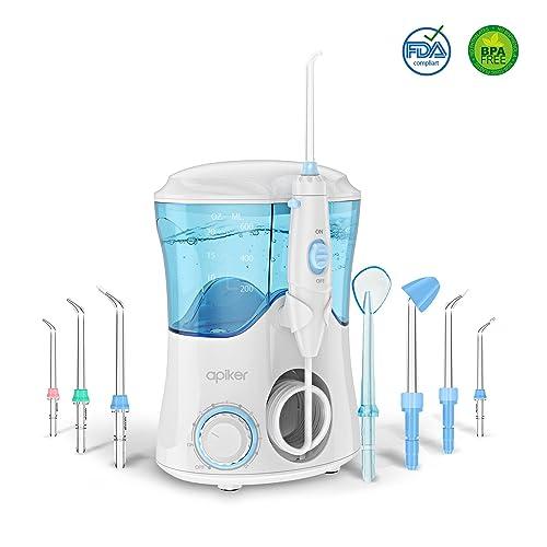 Irrigador Dental Professionale con 8 Boquillas Multifuncionales, Apiker Irrigador Bucal con Capacidad de 600ml,