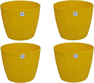 virkart Plastic Mega Pots Set, White, 12 Inch, 4 Pieces (Yellow)
