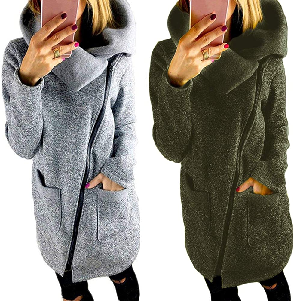 Minetom Damen Herbst Sweaters Hoodie Longshirt Langarm Sweatshirt Schraeg Zipper Lange Pullover Sweatjacke Grün