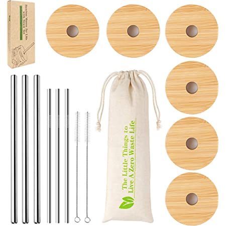 Regular Mouth Mason Jar Lids, CNVOILA Mason Jar Lids With Straw Hole, 6 Pack Bamboo Mason Jar Lid & 3 Stainless Steel Boba Straw & 3 Stainless Steel Thin Straw - 6 Pack Set