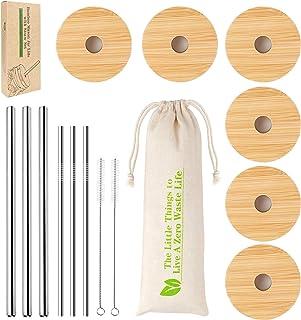 Regular Mouth Mason Jar Lids, Mason Jar Lids With Straw Hole, 6 Pack Bamboo Mason Jar Lid & 3 Stainless Steel Boba Straw & 3 Stainless Steel Thin Straw - 6 Pack Set