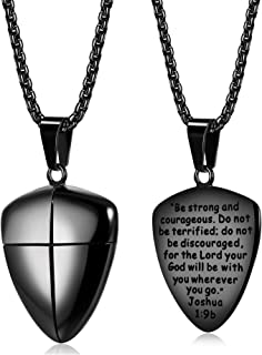 LOYALLOOK Stainless Steel Shield of Faith Engraved Joshua...