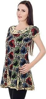 Devaleena Creations Multicoloured Aambi Printed Short Cotton Frock Style Kalidaar For Girls