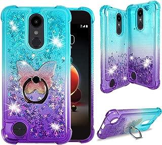 LG Aristo 3 2 Plus Case, LG Tribute Empire Dynasty, LG Fortune 3 2, LG Rebel 4 3 LTE, LG Zone 4, Phoenix 4 [Liquid Glitter Bling] Clear Case w/Cute Phone Ring by Zase (Gradient Aqua Purple)