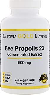 California Gold Nutrition Bee Propolis 2X Concentrated Extract 500 mg 240 Veggie Caps, Milk-Free, Fish Free, Gluten-Free, ...