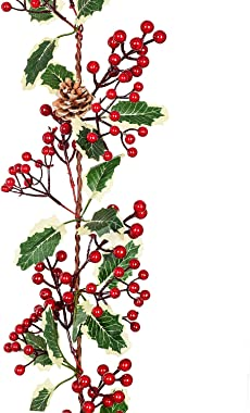 Artiflr 7FT Red Berry Christmas Garland with Pine Cone Garland Artificail Berry Garland Indoor Outdoor Garden Gate Hone Decor