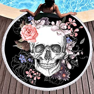 panlen Table Tablecloth Cover, Skull Tapestry,Thick Round Beach Towel Blanket with Tassels, Skeleton Flower, Halloween Decoration, Picnic and Beach Blanket, Pool Coverup,