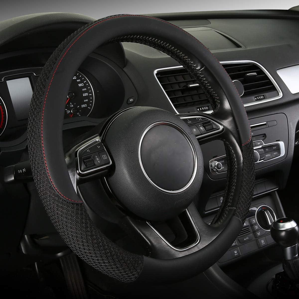 SWC-Bling SOBONITO Bling Bling Steering Wheel Cover-Crystal Diamond for Women,Car Interior Decor,Universal 15inch,Black