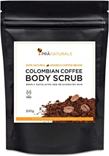 PraNaturals Reines Kolumbianisches Kaffee Körperpeeling 200g, Aus Den Feinsten Kaffeebohnen Mit Ätherischen Ölen Vermischt Um Zellulite Und Schwangerschaftsstreifen Zu Vermindern