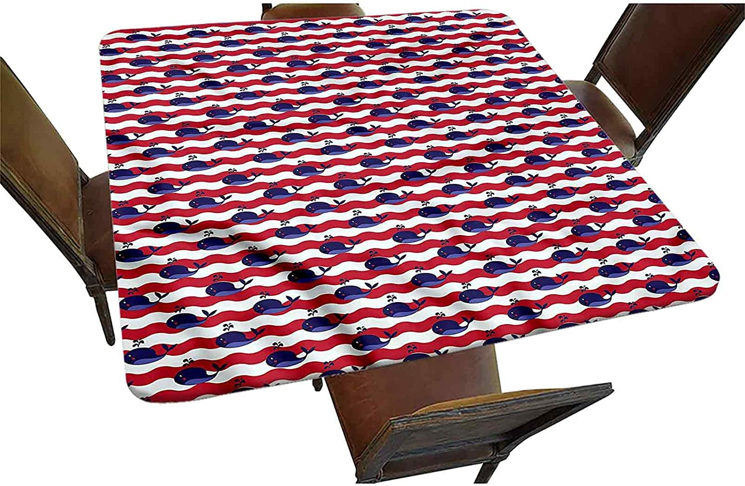 Whale Decorative Elastic Edged OFFicial shop Tablecloth Square trust Nautical Fitted