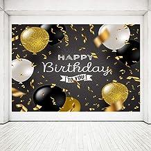 Decoración Fiesta Cumpleaños, Póster Señal Tela Extra Grande para Aniversario Fondo Foto Pancarta Fondo, Materiales Fiesta Cumpleaños (Negro Dorado) (A)