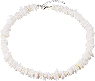 Adjustable Puka Chips Shell Surfer Choker Necklace, White Conch Clam Chips Puka Shell Necklace Collar Choker with Extended...