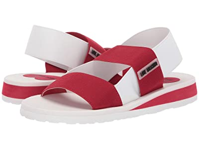LOVE Moschino Elastic Bicolor Sandal (Red/White) Women