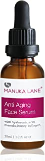 Manuka Lane Anti Aging Face Serum with Hyaluronic Acid, Collagen and All Natural New Zealand Manuka Honey