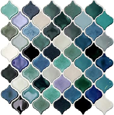 STICKGOO Premium Peel and Stick Tile Backsplash, Teal Arabesque Self Adhesive Wall Tiles, Stick on Backsplash for Kitchen & Bathroom (Pack of 10, Thicker Design)