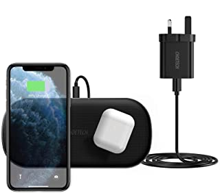 CHOETECH Dual Fast Wireless Charger with QC 3.0 Adapter,5 Coils 10W/7.5W Wireless Charging Pad for iPhone 12/12 Pro/11 Pr...