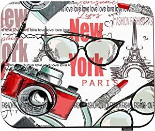 Swono Fashion Vector Pattern Lipstick Mouse Pads Camera Glasses Words New York London Paris Mouse Pad for Laptop Funny Non...