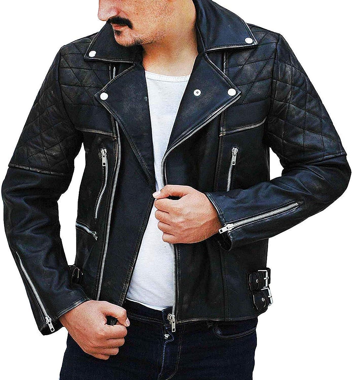 Mens Vintage Distressed Black Biker Quilted Brando Motorcycle Leather Jacket Outfit