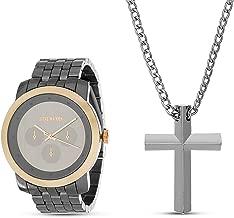 Steve Madden Cross Necklace Men's Chronograph Watch Set (SMWS062)