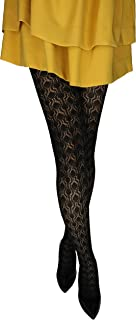 Marilyn warme gemusterte Jacquard-Strumpfhose mit Lurex 120 Denier