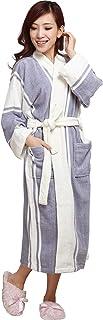 HOONI 温泉100% 綿タオルバスローブ ロングシャワーローブ 浴衣 男性&女性用バスローブ (ブルーホワイト, XL)