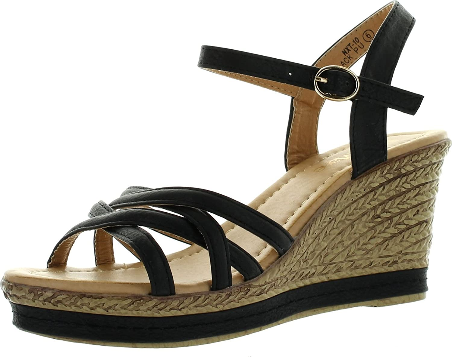 Bellamarie Nxt-10 Women Comfy Ankle Strappy Espadrille Wedge Platform Sandal