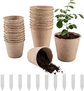 Cosweet 50 Pcs Peat Pots, Plant Seedling Saplings & Herb Seed Starters Kit, Vegetable Tomato Seed Germination Trays, 100% ...