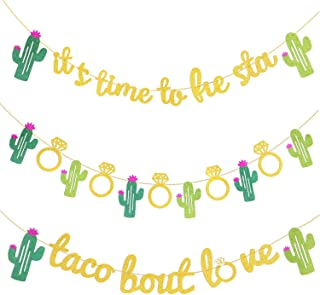 3 Pieces Mexican Fiesta Glitter Banner Taco Bout Love It's Time to Fiesta Cactus Pattern Garland Flag for Baby Shower Bridal Wedding Engagement Party Decorations (Color Set 1)