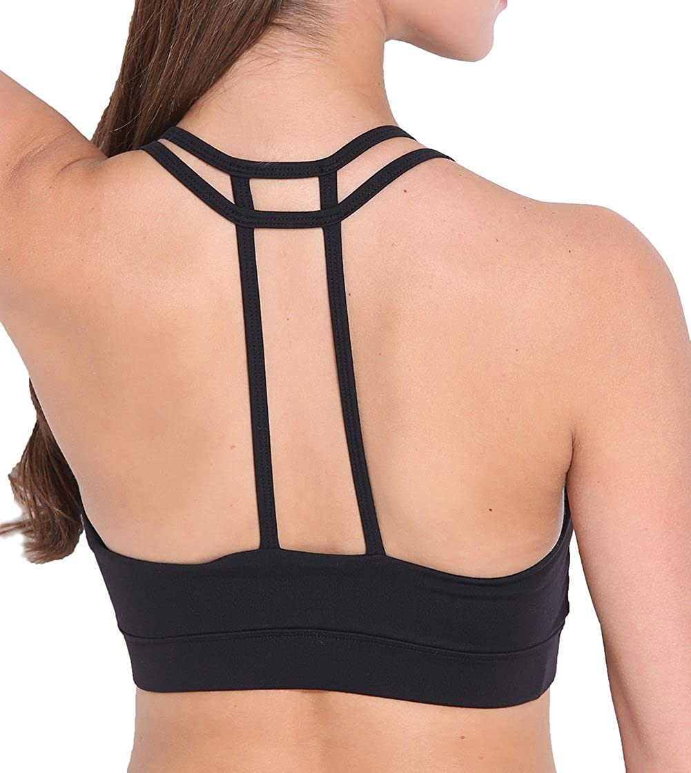 Womens Push Up Padded Strappy Sport Bra Comfortable Bra T-Back Yoga Bra for Activewear