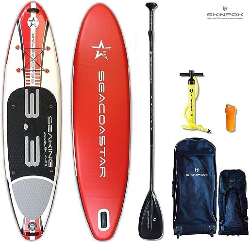 Seacoastar Seaking Rouge Isup Stand Up Paddle Board Set Gonflable Planche pour Barbotter   Vainqueur Sup   325x78x15 cm   Capacité de Charge 175 kg  ( Board,Sac à Dos M.Rouleaux,Doppelhub Pumpe,Repair