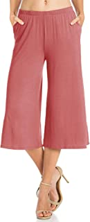 Fashion California Womens 1-3 Pack Elastic Waist Jersey Culottes Capri Pocket Pants (S-XXXXXL)