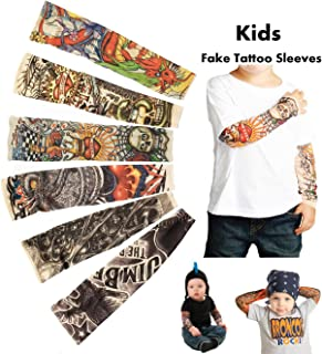 iToolai Temporary Tattoo Sleeves for Kids, Fake Slip On Arm Sunscreen Sleeves, 6pcs - Eagle,Skull,Dragon,Clown, Snake,etc