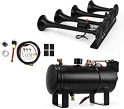 Bestauto 4 Trumpet Train Air Horn Kit 12 V 150DB Air Horn Tank for Any 12V Trains Boats Cars Vans Campers, Off-Road Vehicles