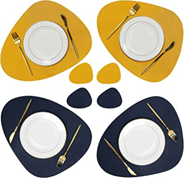 Olrla Dual-Sided PU Leather Placemat and Coaster Sets of 4, Waterproof Heat-Resistant Wipeable Dining Table Mats for Home Kit
