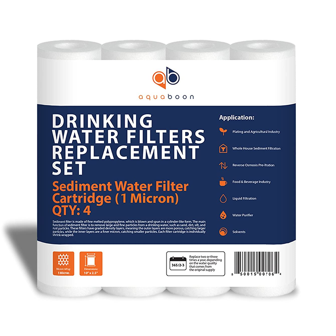 Aquaboon 1-Micron Sediment Water Filter Cartridge, 4-Pack hliilmyxadsel35